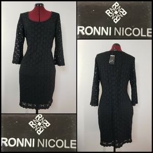 Ronni Nicole Woman Long Sleeve Lace Dress Black